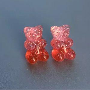 GUMMY BEAR Red Stud Earrings NEW
